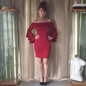 Dresses & Skirts - NEW RED/WINE LONG RUFFLED SLEEVED DRESS FORM FIT